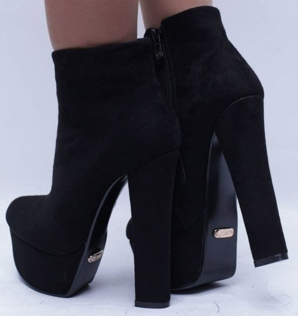 shoes high heels black ankle boots