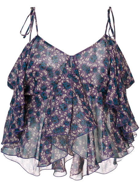 Anna Sui tank top top cropped tank top cropped women blue silk