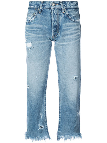 Moussy jeans cropped jeans cropped women cotton blue