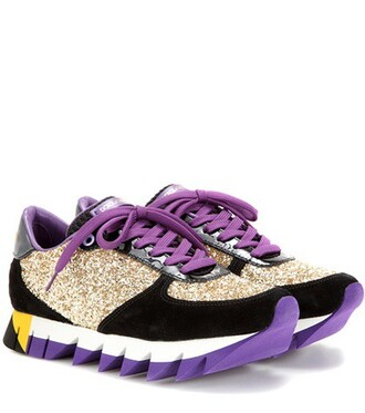 glitter sneakers leather suede shoes