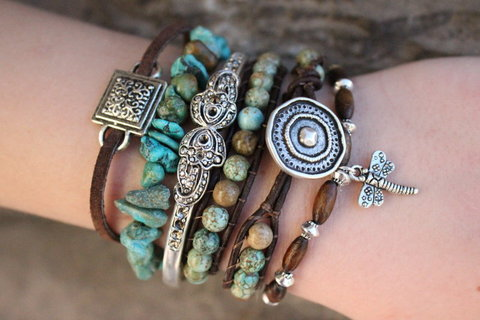 As Seen In Vogue Magazine - Turquoise Boho Bracelet Stack - Includes 4 Bracelets