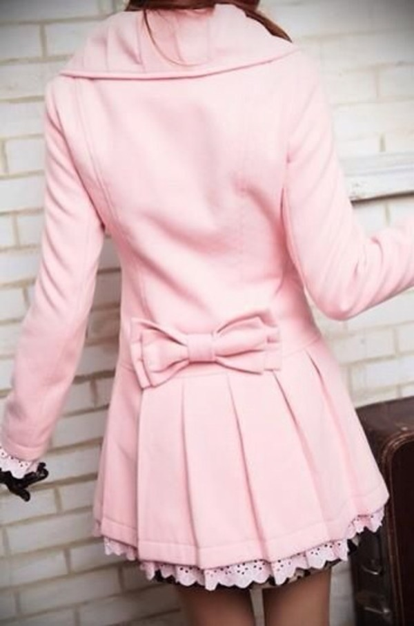 Dress: pink dress, bag, coat, pink, pea coat, bow, cute, vintage ...