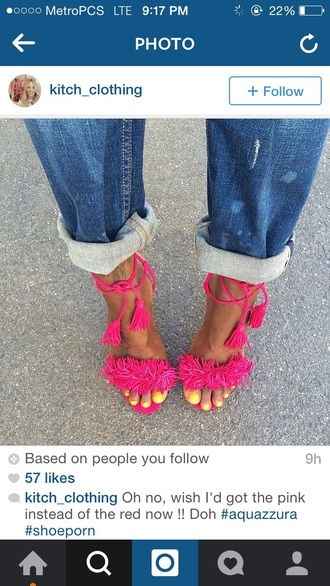 shoes pink fuchsia tie up tassel heels fluffy cute hot pink