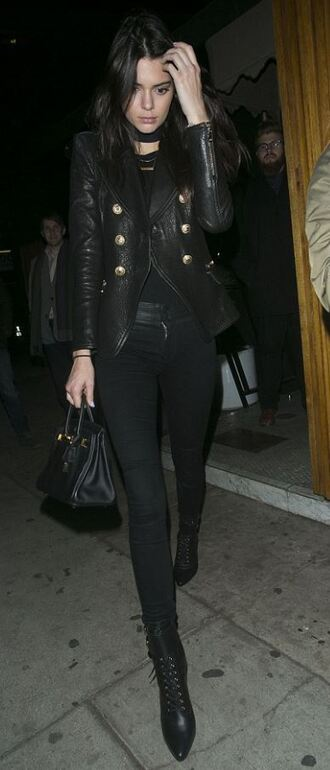 jacket all black everything kendall jenner pants boots fall outfits top