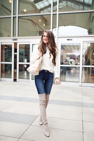 southern curls and pearls blogger jewels jacket sweater jeans shoes thigh high boots boots winter outfits louis vuitton bag
