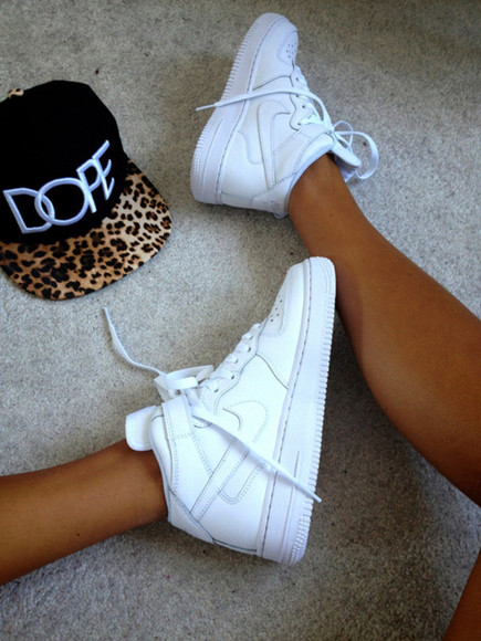 cool shoes nike nike air force 1 air force 1 white hat
