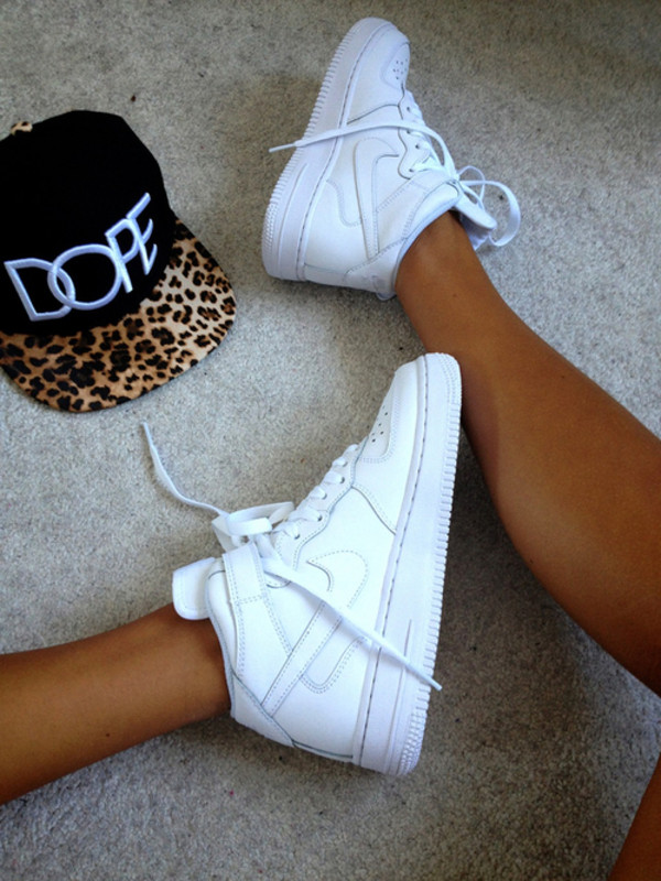 shoes nike nike air force 1 nike air force 1 white hat nike air force force nike air force 1 big high dope cap swag cool white shoes nike shoes