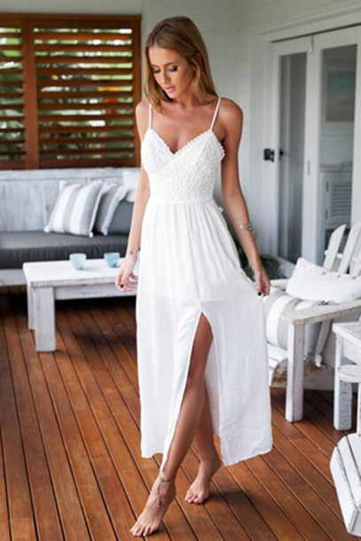Dress: white boho dress, bohemian dress, beach dress, front split ...