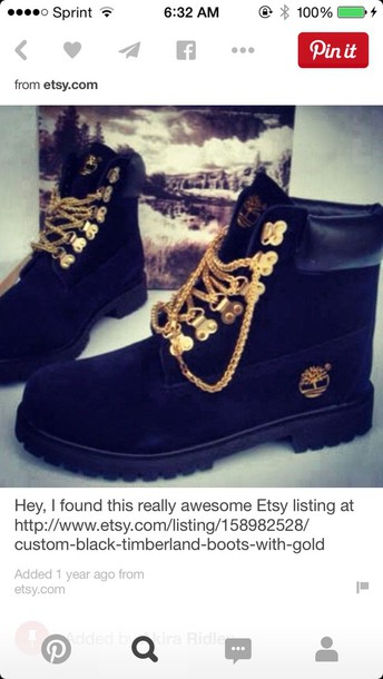 shoes black timberlands with gold