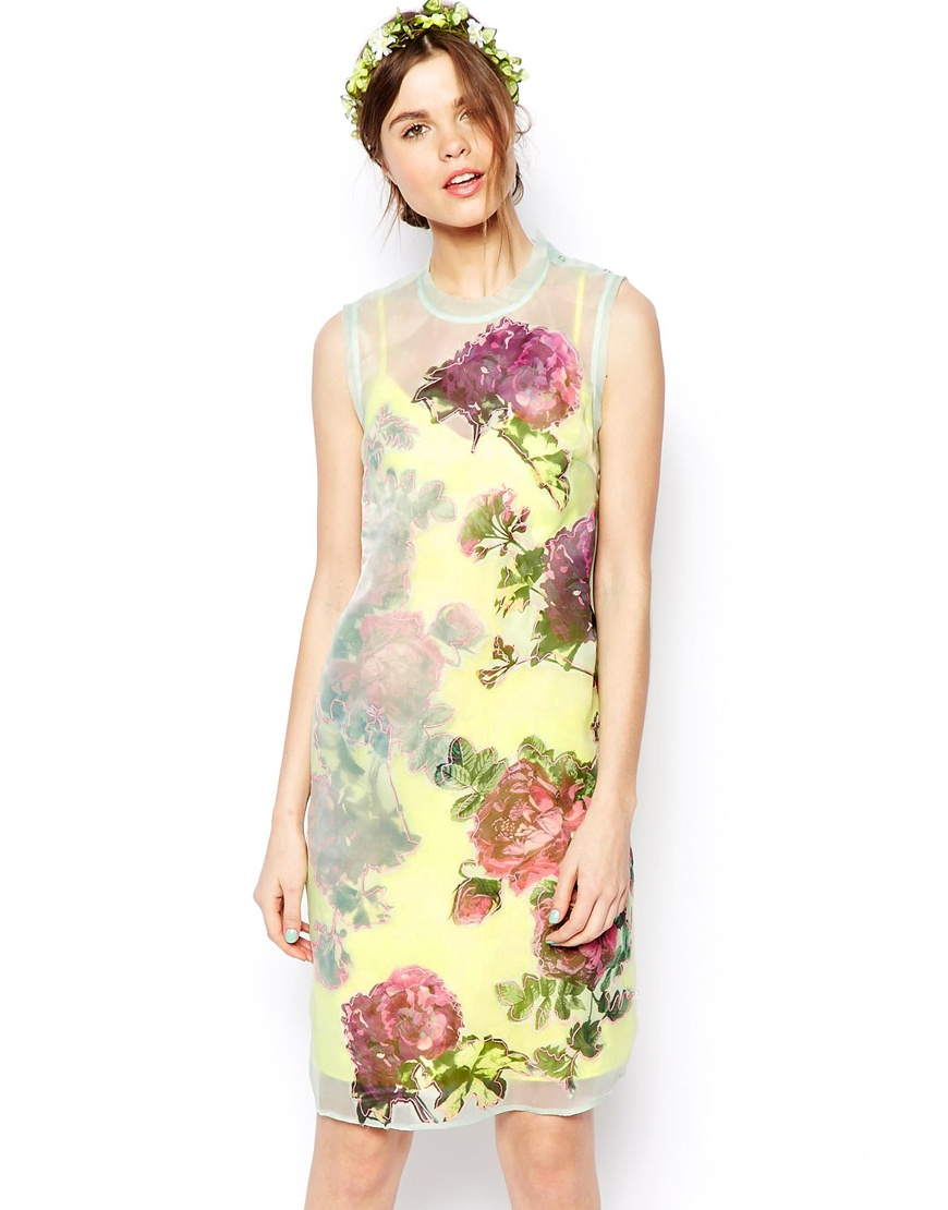 ASOS SALON Shift Dress In Organza With Applique Flowers at asos.com