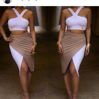 pink white white dress crop tops middle cut pink dress bodycon dress cream bodycon skirt slit skirt the middle