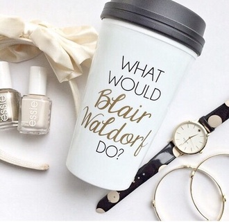 home accessory coffee mug blair waldorf girly travel travel mug white gold mug thermos blair gossip girl coffee what would blair waldorf do