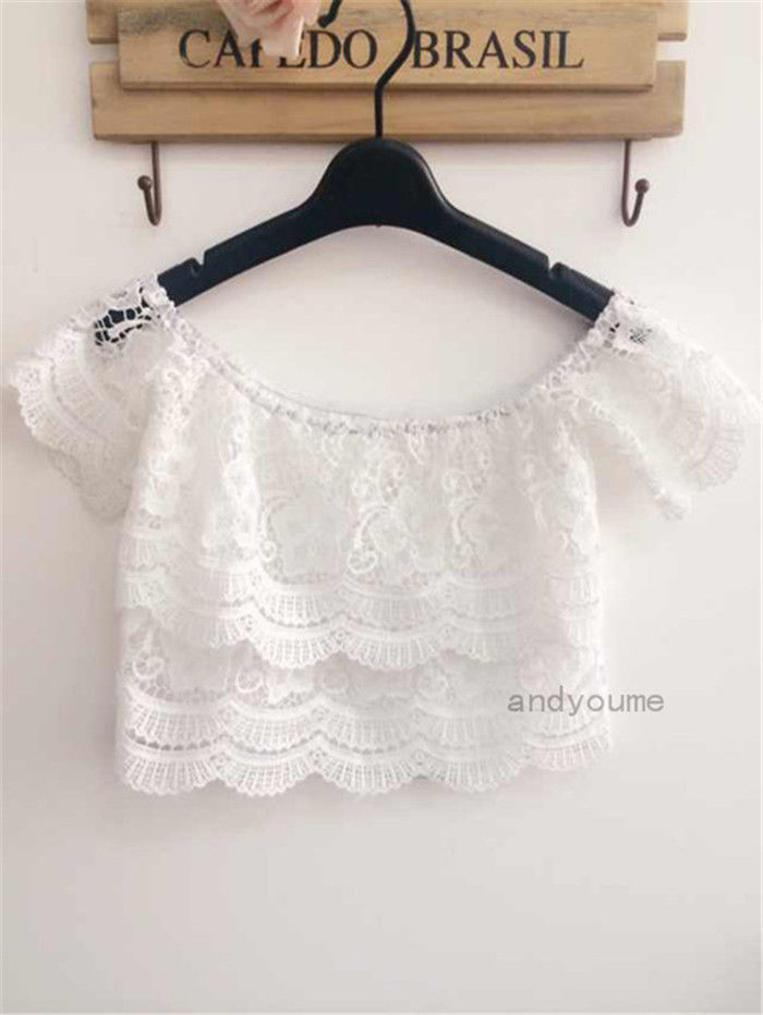 New Sexy Women's Casual Lace Crochet Tops Blouse Off-Shoulder White Tee Shirts