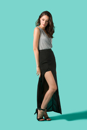 skirt,maxi skirt,chiffon skirt,bella luxx,goodnight macaroon,slit maxi skirt,black maxi skirt,chiffon maxi,tank top