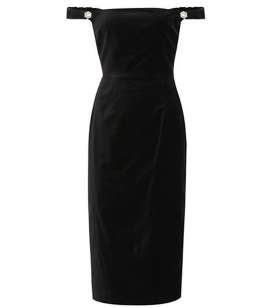 AlexaChung Off-the-shoulder velvet dress in black