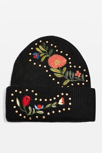studded hat beanie floral black