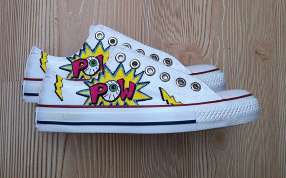 Pow eyeball shoes  converse by denimtrend on etsy