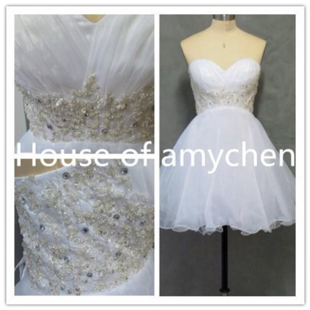 dress white dress prom dress short dress wedding dress glitter dress