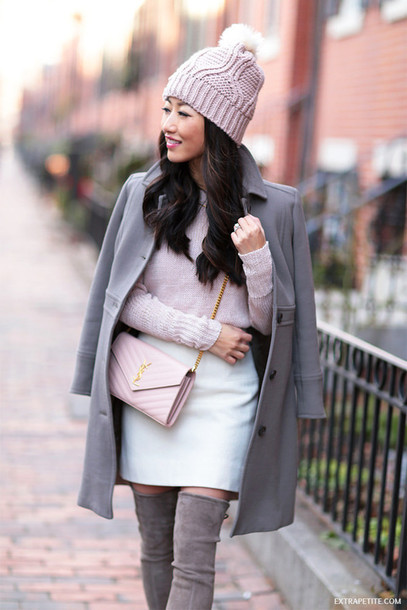 Shoes: extra petite, blogger, sweater, coat, skirt, hat - Wheretoget