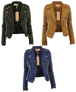 New Womens Faux Leather Biker Gold Button Zip Crop Ladies Jacket ...