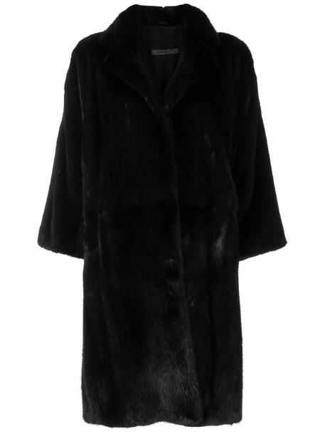 SIMONETTA RAVIZZA coat cropped fur women black silk