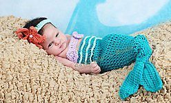 Baby Girls 3 Piece Crochet Mermaid Costume Tail TOP AND Headband 3 12 Months | eBay