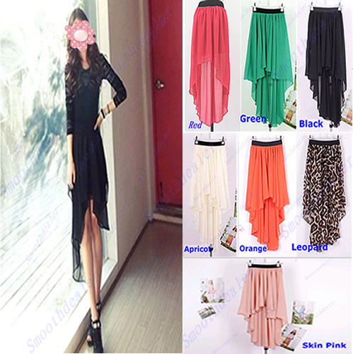 Hot fashion sexy asym hem chiffon skirt ladies long maxi dress elastic waistband