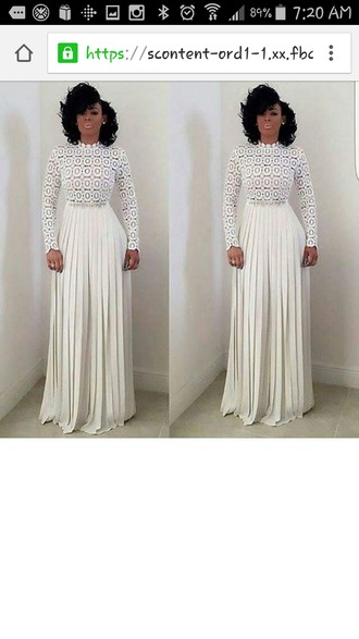 dress white dress lace top pleated skirt silver belt long pleated pants