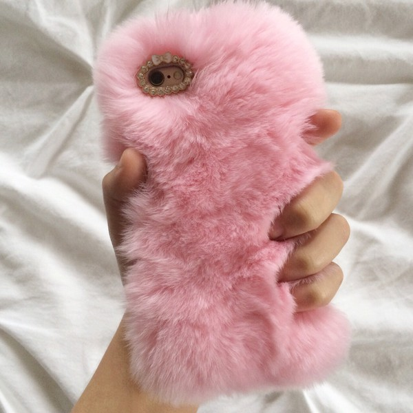 phone cover pink fluffy home accessory cute kawaii fluffy phone phone cover pastel pale grunge girl girly girly wishlist fur iphone cover furry iphone case