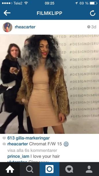 dress beige beige dress bodycon dress bodycon dope hot fur coat