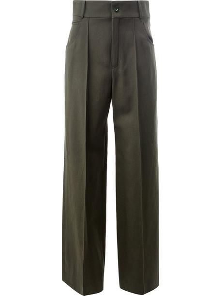 Chloé Chloé - high-waisted tailored trousers - women - Silk/Cotton/Acetate/Virgin Wool - 40, Green, Silk/Cotton/Acetate/Virgin Wool
