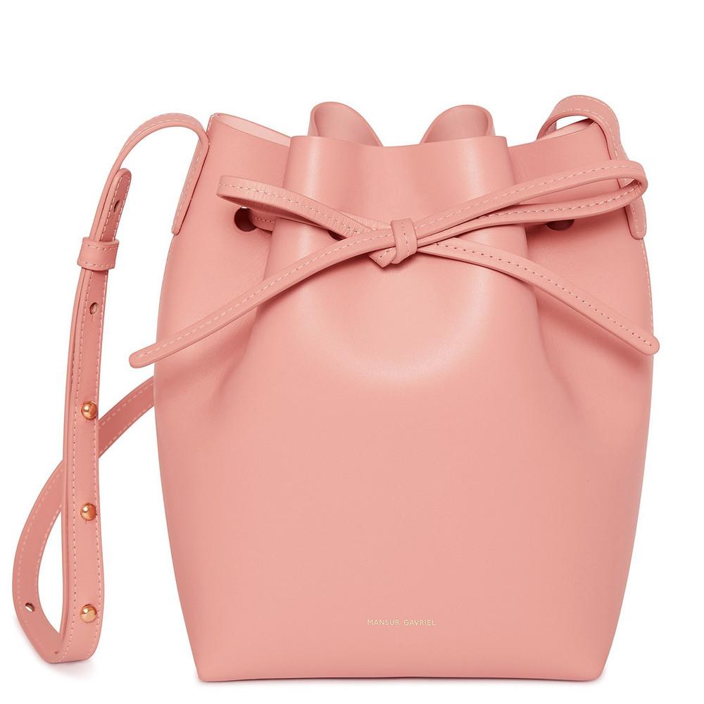 Mansur Gavriel Calf Mini Bucket Bag - Coral