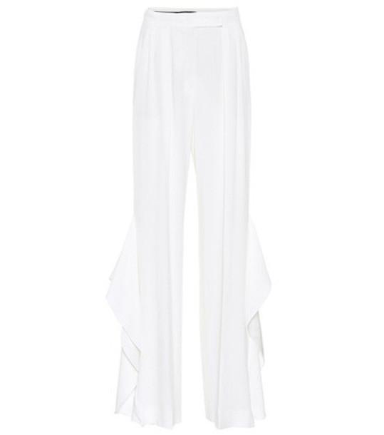 Max Mara Donnola ruffled wide-leg pants in white