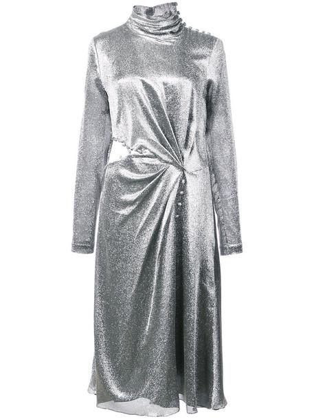Prabal Gurung dress long dress long high women spandex silk grey metallic