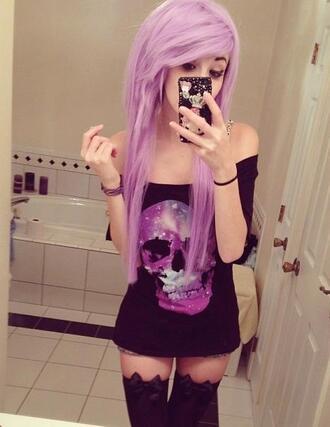 shirt skelet skeleton dead bones socks panties bow hair pastel pastel hair goth grunge goth hipster pastel goth scene kawaii leggings