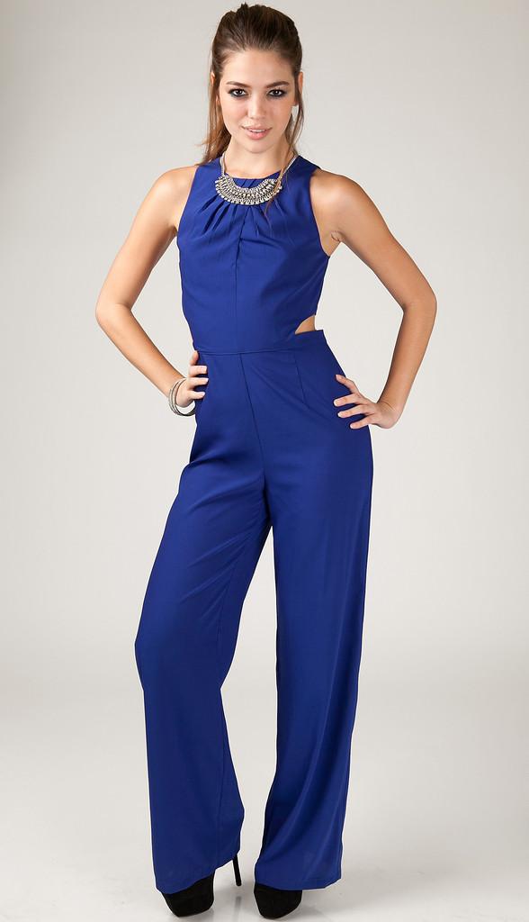 Blue Dressy Plus Jumpsuit: Blue Formal Jumpsuit