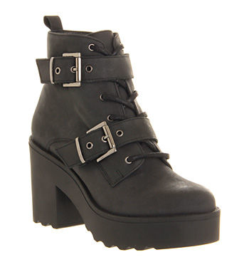 Office Major Lace Up Black Washed Leather - Ankle Boots