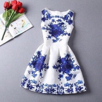 dress blue floral summer cute white short