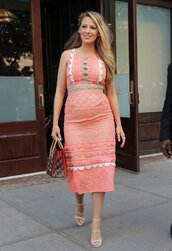 dress,midi dress,summer dress,lace dress,peach,purse,sandals,blake lively,shoes,bag