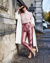 shoes,pumps,mid heel pumps,slingbacks,pants,sequin pants,high waisted pants,turtleneck,coat,sunglasses,earrings