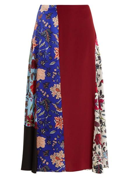 Diane Von Furstenberg skirt print silk satin burgundy