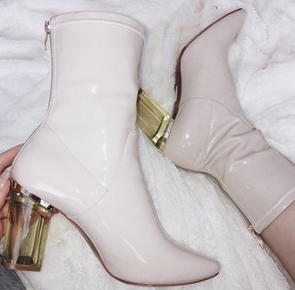 shoes nude clear heel boots