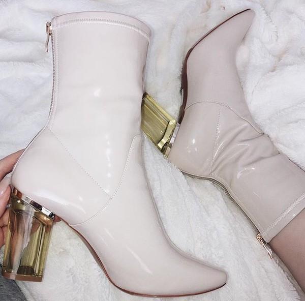 dc13e589d31 Briella Perspex Heel Boots in White Patent