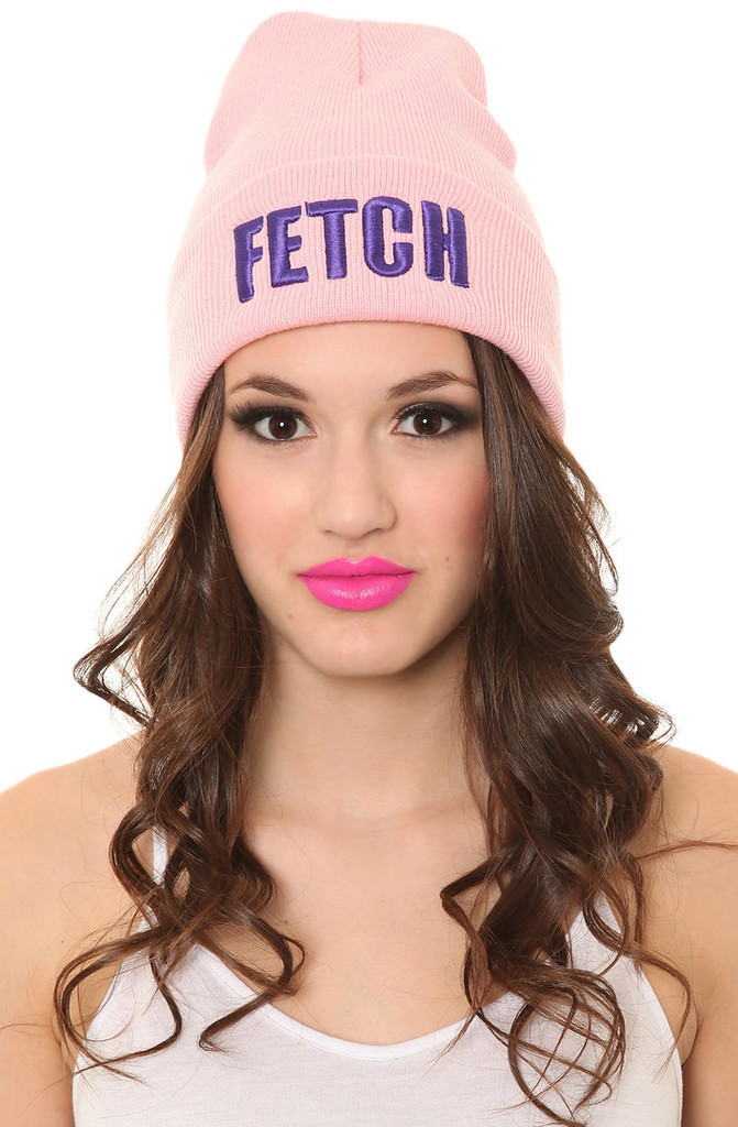 """fetch"" pink print beanie – glamzelle"