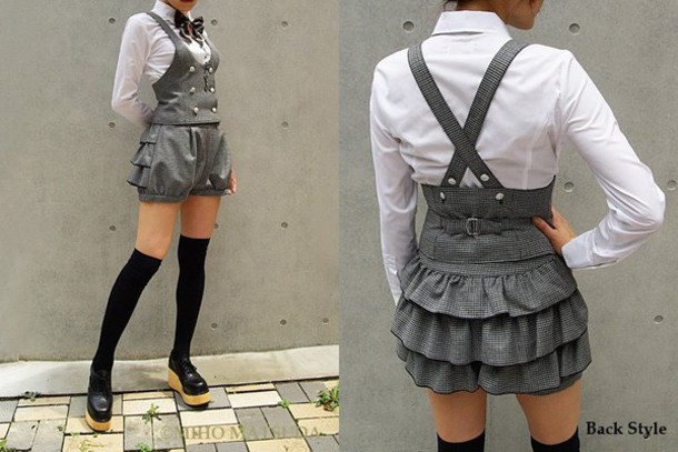 dress japanese kawaii stockings blouse bow tie suspenders shoes