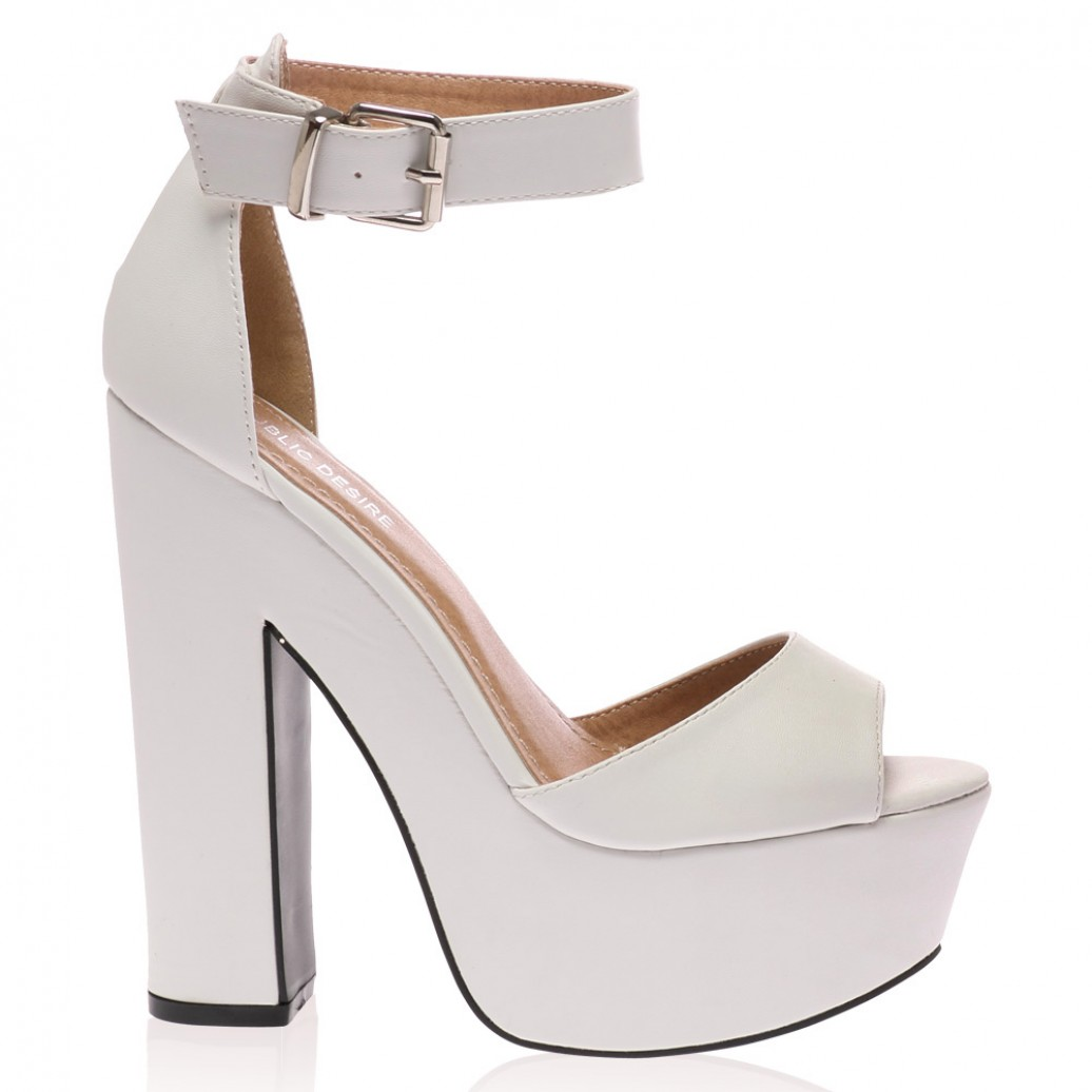 White Platform High Heel Sandals
