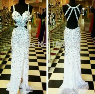 dress white prom gorgeous helpmetofindthis stunning jeweled opensides backless