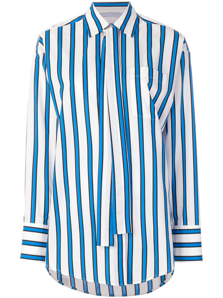 shirt striped shirt women cotton blue top