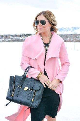 all dolled up blogger bag sunglasses pink coat black dress statement necklace black bag