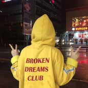 sweater,quote on it,yellow,yellow sweater,broken dream